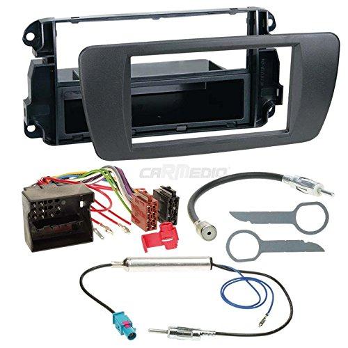 Carmedio Seat Ibiza 6J ab 08 1-DIN Autoradio Einbauset in original Plug&Play Qualität mit Antennenadapter Radioanschlusskabel Zubehör und Radioblende Einbaurahmen Nitschwarz