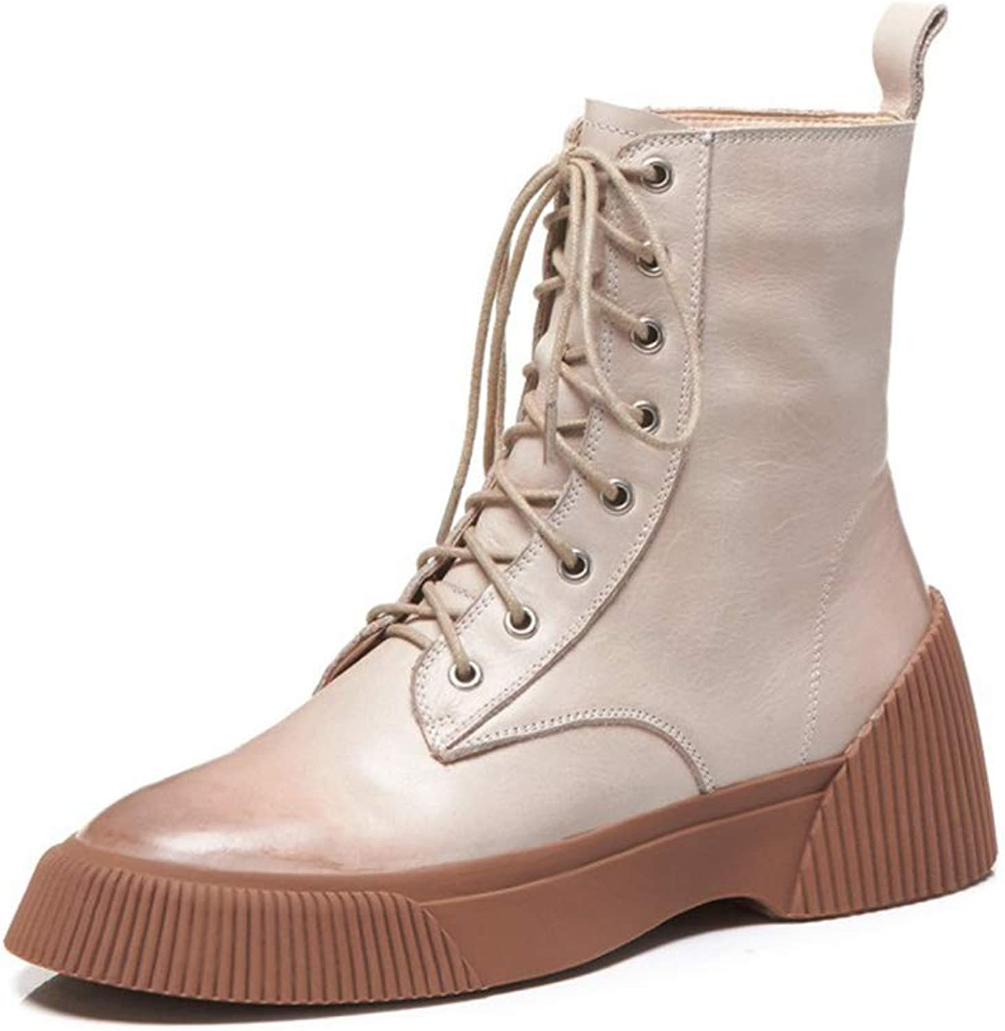 Women's Ankle Boots Leather Fall & Winter Ladies High-top Casual shoes Flat Lace Up Zip Combat Military Army Casual Walking shoes (color   B, Size   37)