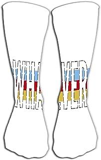 Calcetines Mujeres Hombres Algodón de lujo Colorido Guay Diversión Calcetines hasta la rodilla Eslogan de 19.7 '(50 cm) cualquiera que sea la frase impresión gráfica moda l