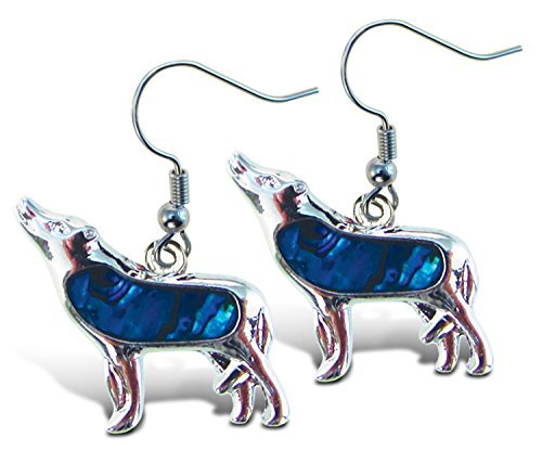 Puzzled Blue & Silver Wolf Dangle Post Fish Hook Drop Earrings, 1.35 Inch Fashionable Sparkling Elegant Jewelry with Genuine New Zealand Paua Shell Wild Animals Themed Fashion Ear Accessory (2 Pcs)