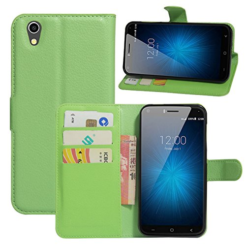 HualuBro UMIDIGI London Hülle, [All Aro& Schutz] Premium PU Leder Leather Wallet Handy Tasche Schutzhülle Hülle Flip Cover mit Karten Slot für UMIDIGI London 5.0 Inch 3G Smartphone (Grün)