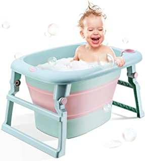 BEWAVE Baby Bath Tub, Folding Infant Bathtub, Portable Collapsible Newborn Toddler Bath Support for 1-5 Years