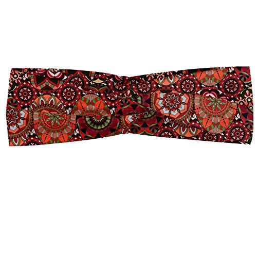 ABAKUHAUS Marokkaans Hoofdband, Vintage Tegel van de ottomane, Elastische en Zachte Bandana voor Dames, voor Sport en Dagelijks Gebruik, Green Vermilion Ruby