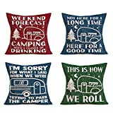 Hopyeer Vintage Camper Pattern Throw Pillow Case Decorative Cotton Linen Wood Board Background with Quote Lettering Forest Hiking Pillow Covers Decor Holiday Sofa Couch Bed 18'x18',Set-4 (Festival10)