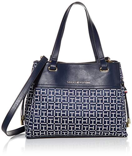 Tommy Hilfiger Women's Katie Satchel Handbag, Navy/White