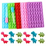 Zixiang Silicone Candy Gummy Dinosaur Molds 5 Pack Dinosaur Fondant Chocolate Molds with 2 Droppers Ice Cube Tray for Baking Mould Cake Decoration Dinosaur Birthday Party molds