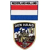 A-ONE Den Haag Aufnäher + Flagge der Niederlande Flagge, patriotische Mantel-Patches, einzigartige persönliche Identität für Holland Den HAAG, 2 Stück