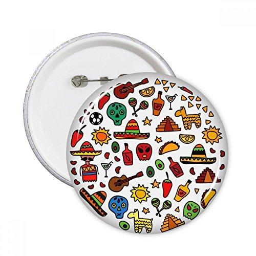 DIYthinker Schedel Gitaar Peper Voetbal Mexicaanse Cultuur Ronde Illustratie Ronde Pinnen Badge Knop Kleding Decoratie Gift 5 Stks S Multi kleuren