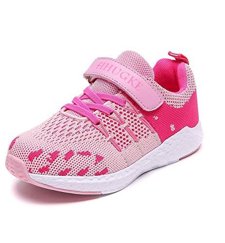 FIHUGKE Kinder Schuhe Sportschuhe Ultraleicht Atmungsaktiv Turnschuhe Klettverschluss Low-Top Sneakers Laufen Schuhe Laufschuhe für Mädchen Jungen, Rosa, 36 EU