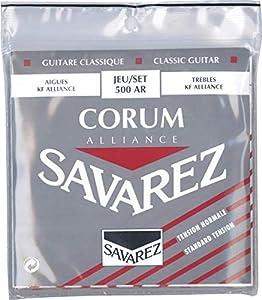 Combinación de las cuerdas agudas Alliance Carbon con las graves Corum 500AR. Tensión estandard, rojo Agudas: Carbono, Graves: Entorchado en plateado