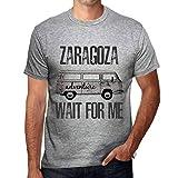 One in the City Hombre Camiseta Vintage T-Shirt Gráfico Zaragoza Wait For Me Gris Moteado