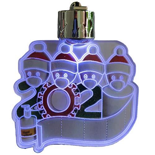 Jsdoin Adornos de Navidad LED Decoraciones de Navidad Personalizadas Familia Survivor de 2, 3, 4, 5 Árbol de Navidad DIY Nombre Colgante Familia Nochebuena 2020 Conmemorativo (4)