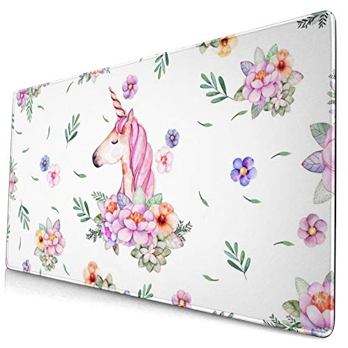 King Dare Unicorn Large Gaming Mouse Pad, Exteneded Desk Mouse Mat with Stitched Edge, Non Slip,Anti-Fray, Designed for Home and Office, 30x15.7x0.14 Inch