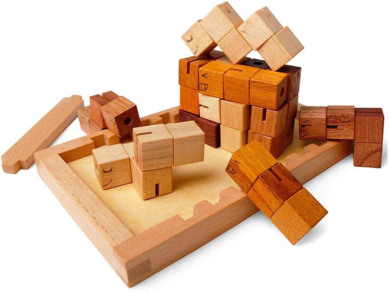 HXGL-Spielzeuge Die Geschenke der Holzblock-Kinder, die Spielwaren zusammenbauen, Bauen EIN Haus in 3 Jahren alt (Farbe   Wooden)