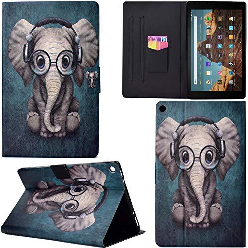 DodoBuy Hülle für Amazon Fire HD 10 Tablet, PU Leder Flip Smart Cover Schutzhülle Dünn Tasche Brieftasche Wallet Hülle Ständer mit Kartenfächer Magnetverschluss - Musik Elefant