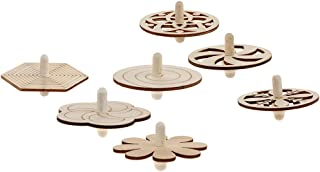 IPOTCH 7pcs Unfinished Wood Spinning Tops for Kids Painting Crafts Educational Toys