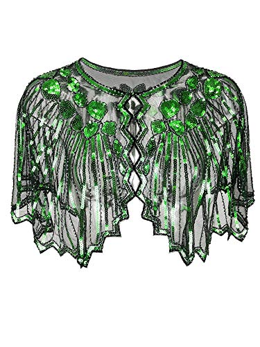 Grouptap 1920er Jahre grün Gatsby Schal Bolero Pailletten Cape Achselzucken Wrap für Frauen Damen Flapper Art Deco Vintage Kleid Kostüm (Grün, Einheitsgröße)