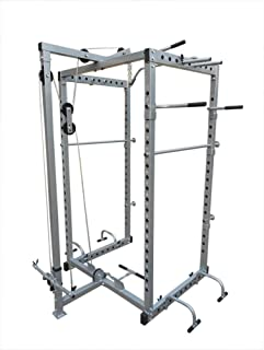 Power Rack Squat Cage Stands with LAT Pulldown Home Gym All-in-One Workout Solution Exercise Fitness Equipment