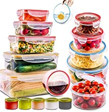 28 PCs Large Food Storage Containers with Airtight Lids-Freezer & Microwave Safe,BPA Free Plastic Meal Prep Containers & K...
