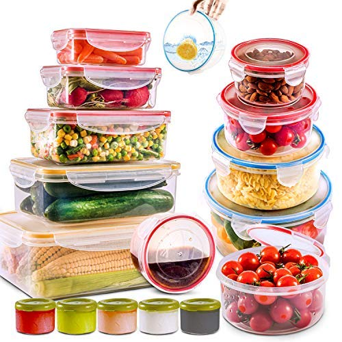 28 PCs Large Food Storage Containers with Airtight Lids-Freezer & Microwave Safe,BPA Free Plastic Meal Prep Containers & Kitchen set.Leak proof Lunch Containers-Snacks, Sandwich, Sauces & Bento box