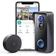 Victure WiFi Video Doorbell Camera with Chime 1080P Wireless Home Security Camera Doorbell Battery Powered with 2-Way Audio, Motion Detection, Night Vision, Wide Angle, Local and Cloud Storage