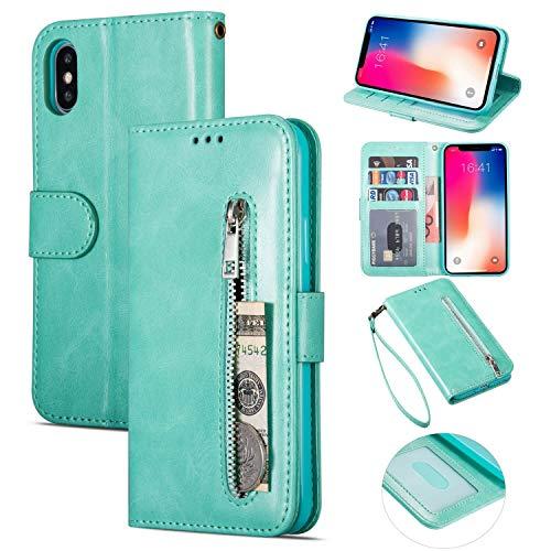 ZTOFERA iPhone X Hülle, Magnetisch Folio Flip Wallet Leder Standfunktion Reißverschluss schutzhülle mit Trageschlaufe, Brieftasche Hülle für iPhone X/iPhone XS - Minzgrün