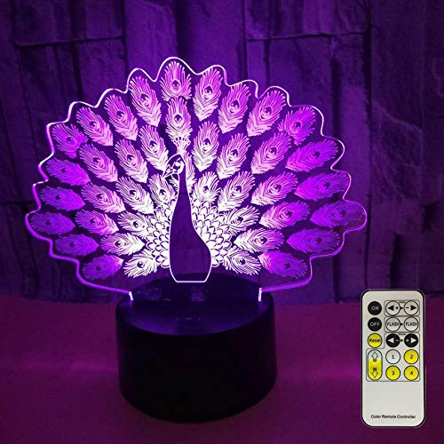 Novelty Peacock 3D Night Light 7 Colors Changing Nightlight with Smart Touch & Remote Control Optical Illusion Lamps for Kids or as Gifts for Women Kids Girls Boys