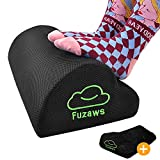Fuzaws Foot Rest for Under Desk at Work, Ergonomic Clouds Curved Design Memory Foam with Non-Slip Bottom, 2 Different Material, Breathable Mesh Cover&Soft Velvet Cover for Home Office Car Airplane