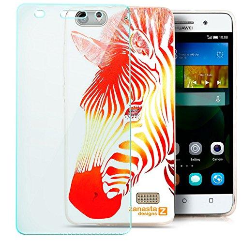 Zanasta Designs Schutzhülle + Panzerfolie für Huawei G Play Mini Slim Case Hülle Silikon mit Motiv Red Zebra