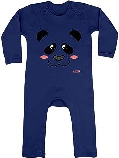 HARIZ HARIZ Baby Strampler Panda Süß Gesicht Süß Tiere Dschungel Inkl. Geschenk Karte Matrosen Dunkel Blau 6-12 Monate