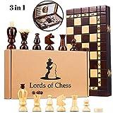 Amazinggirl ajedrez de Madera Backgammon Damas - Conjunto 3 en 1 Tablero ajedrez para...