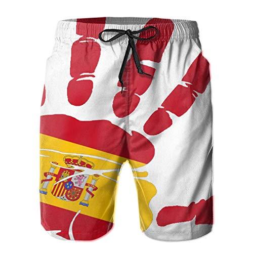 QUEMIN Handabdruck Flagge von Spanien Herren Casual Badehose Quick Dry Beach Shorts Sommer Boardshorts mit Mesh-Futter, XL
