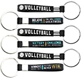 (12-pack) Volleyball Keychains with Motivational Quotes - Wholesale Pack of Bulk Key Chains for Giveaway Gifts for Team, Volleyball Theme Party Favors and Supplies for Boys Girls Men Women