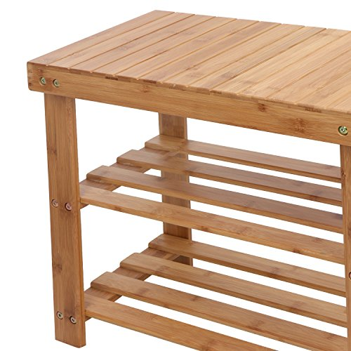 ZENY 2 Tiers Bamboo Shoe Bench Rack Entryway Hallway Storage Rack Organizer with High and Low Levels for Adult and Child