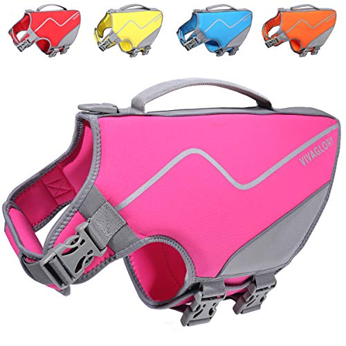 Vivaglory Neoprene Dog Life Jacket, Sports Style Life Jacket for Medium to Large Dogs with Superior Buoyancy & Strong Handle, Pink L