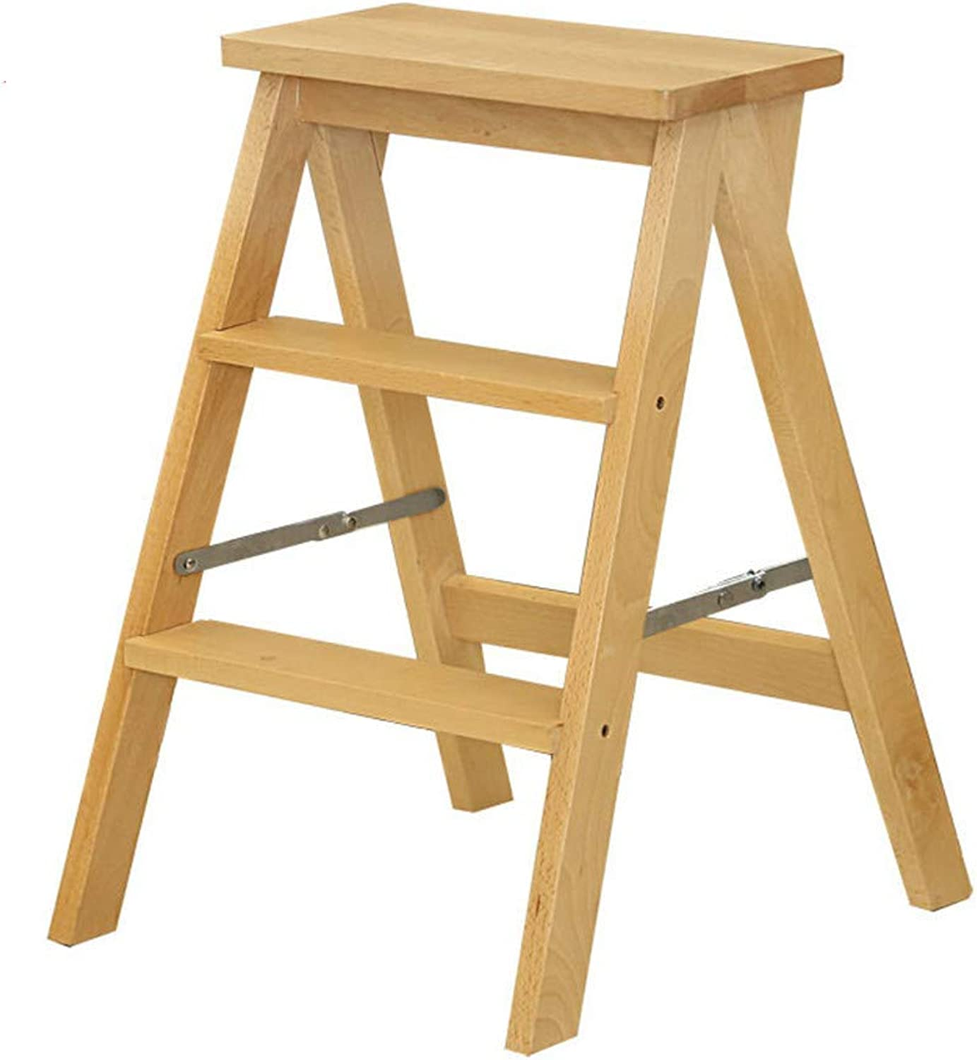 NN Step Stool - Solid Step Stool Portable Non-Slip Pedal Home Step Stool Non-Slip Multi-Function Stairs Foldable Step Stool (color   Brown)