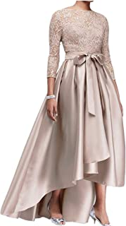 kxry Women's High Low Plus Size Mother of The Bride Dress Champagne Lace Formal Evening Prom Party Gown