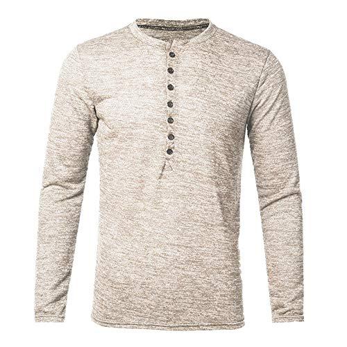 T-shirt da uomo a maniche lunghe, design alla moda, con bottoni aderenti, stile casual, per uomo Beige 3XL