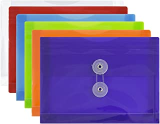 JAM PAPER Plastic Envelopes with Button & String Tie Closure - Index Size - 5 1/2 x 7 1/2 - Assorted Colors - 6/Pack