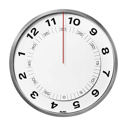 MOMA Wanduhr Dial Clock, Kunststoff, Quarz-Uhrwerk, weiß, 5.7 x 23 x 23 cm