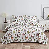 Kids Girls Alpaca Cactus Quilt Set Full/Queen Size Llama Bedding Lightweight Animal Cartoon All Season Bedspread Coverlets with 2 Pillowshams