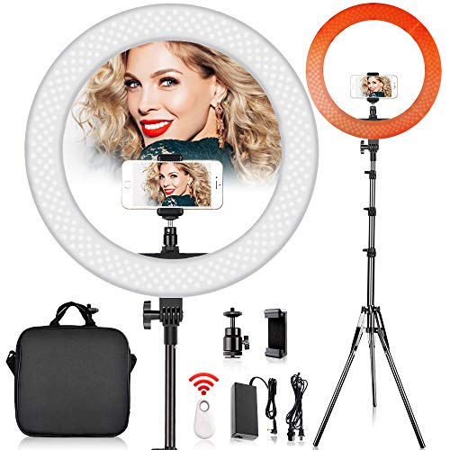 FOSITAN LED Ring Light with 2M Stand for Phone and Camera, 18 inches/48.5cm Outer 55W 5500K/3200K Dimmable w/Filters Carrying Bag for YouTube Vlog Makeup Studio Video Sho...