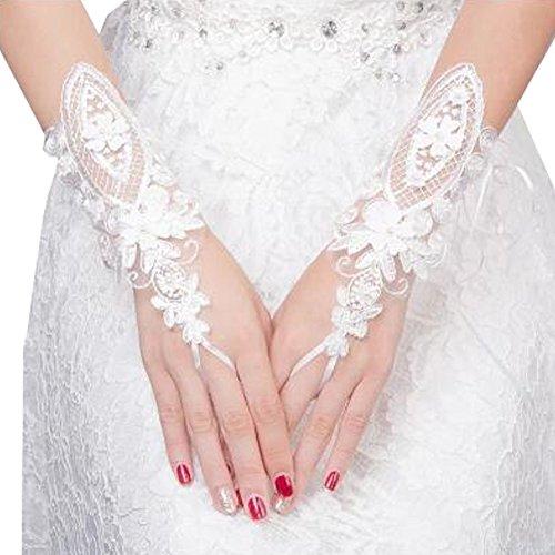 Elegant Lady Formal Banquet Party mariée percé dentelle gants de mariée gants de mariée, NO.32