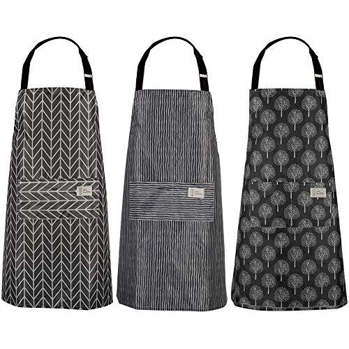 adakel 3 Stücke Wasserdicht Schürze, Kochschürze mit Taschen, Verstellbarem Küchenschürze Grillschürze latzschürze für Damen und Männer