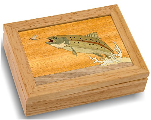 MarqART Wood Art Trout Box - Handmade USA - Unmatched Quality - Unique, No Two are The Same - Original Work of Wood Art (#4123 Trout and Mayfly 4x5x1.5)