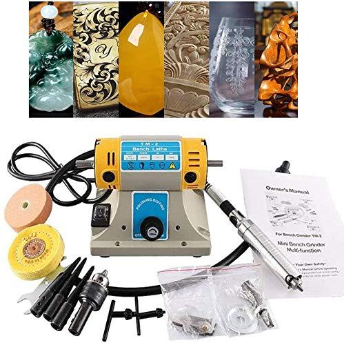 KKTECT Lucidatrice da banco lucidatrice Buffer per lucidatrice da roccia 10000 rpm 350 W Smerigliatrice elettrica per gioielli con gemme Strumento per incisione tornio fai-da-te