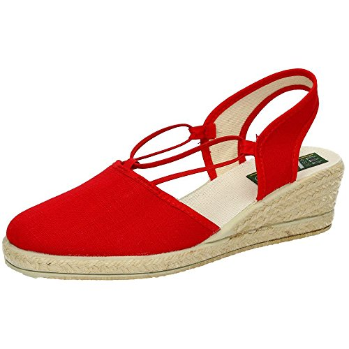 ISASA 0881/011 Zapatillas con CUÑA Mujer Alpargatas Rojo 38