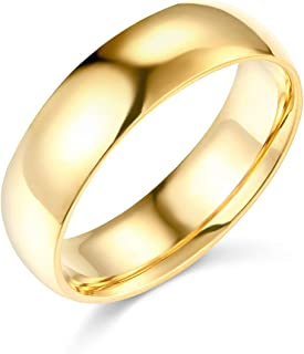 Mens 14k Yellow -OR- White Gold Solid 6mm COMFORT FIT Traditional Wedding Band Ring