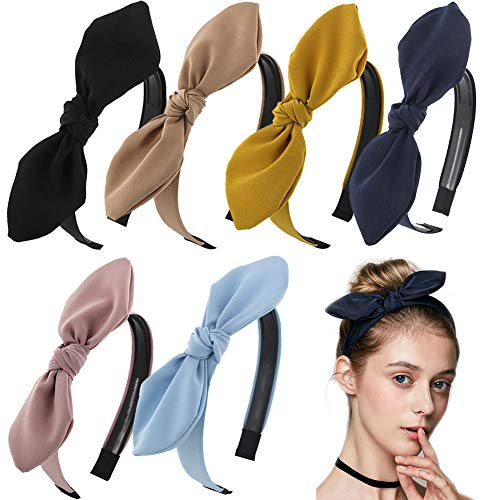 Carede Solid Bow Headbands for Women Twist Knot Headbands Wired Rabbit ears Plastic Headbands with Teeth Elastic Cloth Bowknot Headwrap Hair Accessory,Pack of 6