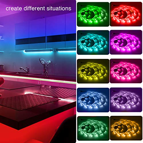 Phopollo Led Lights 65.6ft Long Led Strip Lights for Bedroom Color Changing Luces Led para Decoracion Habitacion RGB DIY Color Option with Power Supply and Remote 2
